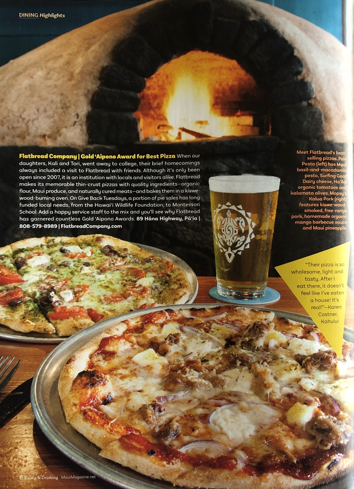 Editorial Assignment for Maui No Ka Oi Magazine - Flatbread Company, Paia, Maui